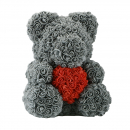 Rose Bear Grey Red Heart